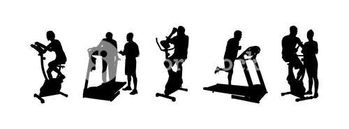 Silhouette of people working out vector
