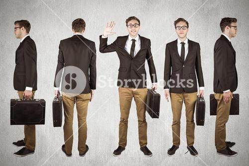 Composite image of nerdy businessman