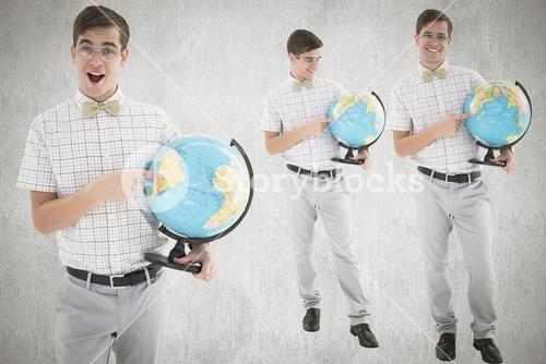 Composite image of nerd with globe