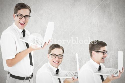 Composite image of nerd with laptop