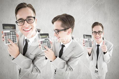 Composite image of nerd with calculator