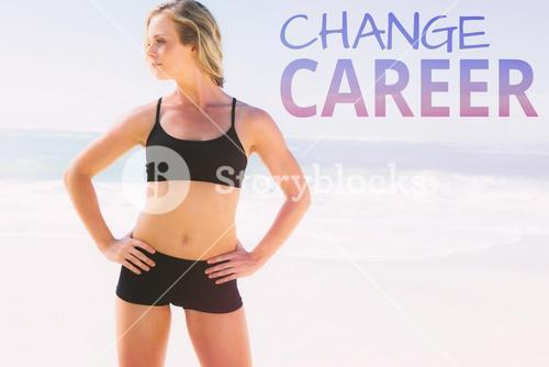 Composite image of fit blonde standing on the beach