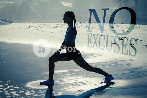 Composite image of fit woman doing lunges on the beach