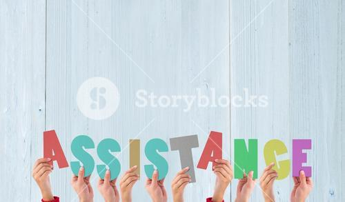 Composite image of hands holding up assistance