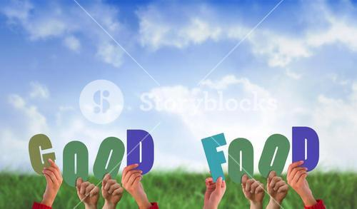 Composite image of hands holding up good food