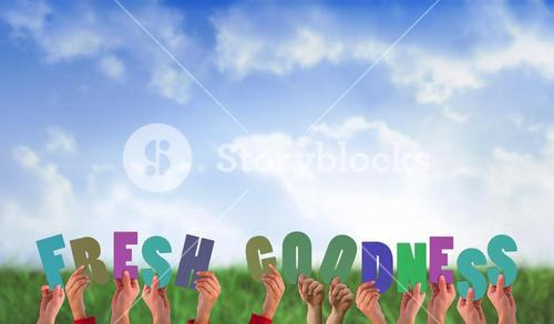 Composite image of hands holding up fresh goodness