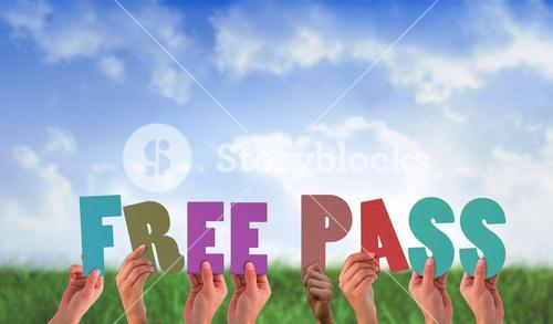 Composite image of hands holding up free pass