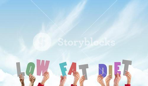Composite image of hands holding up low fat diet
