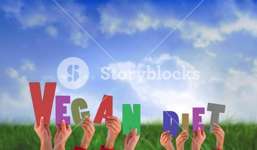 Composite image of hands holding up vegan diet