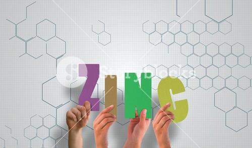 Composite image of hands holding up zinc