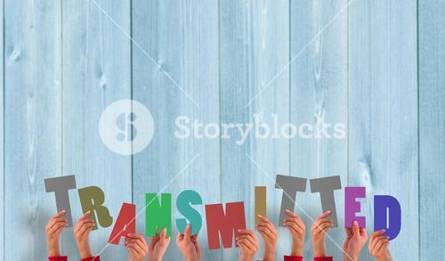 Composite image of hands holding up transmitted