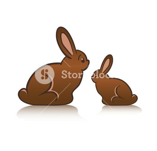 Chocolate rabbits on white background