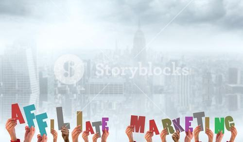 Composite image of hands holding up affiliate marketing