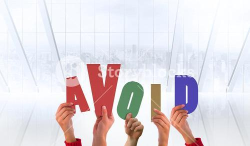 Composite image of hands holding up avoid