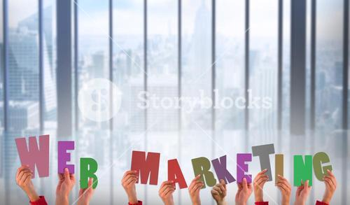 Composite image of hands showing web marketing