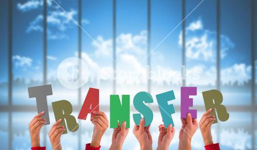 Composite image of hands holding up transfer