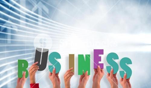 Composite image of hands showing business
