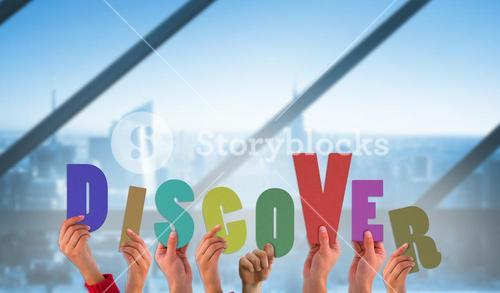 Composite image of hands holding up discover