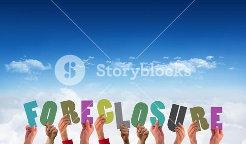 Composite image of hands holding up foreclosure