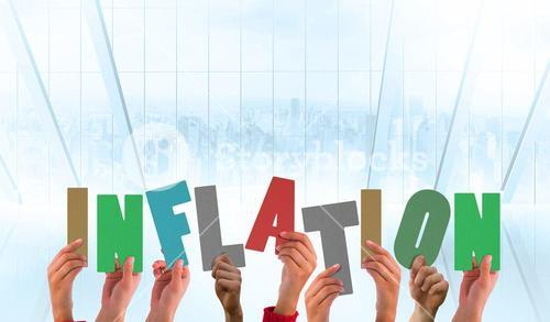 Composite image of hands holding up inflation