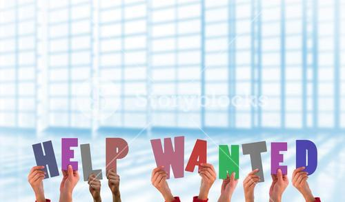Composite image of hands holding up help wanted