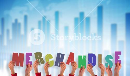 Composite image of hands holding up merchandise