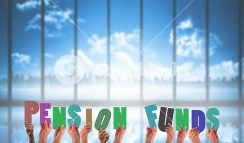 Composite image of hands holding up pension funds