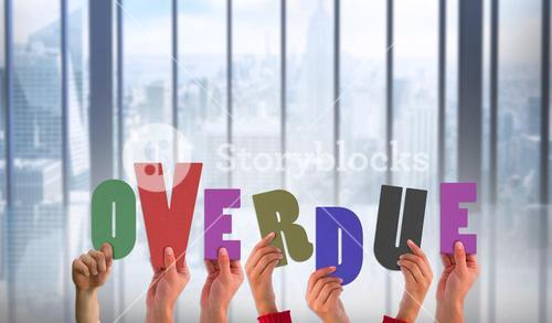 Composite image of hands holding up overdue