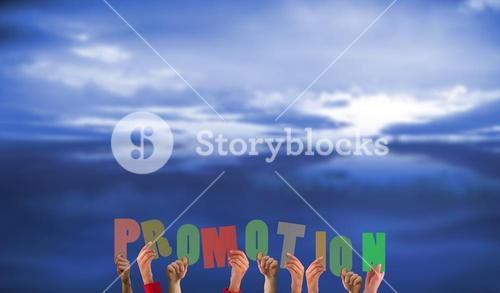 Composite image of hands holding up promotion