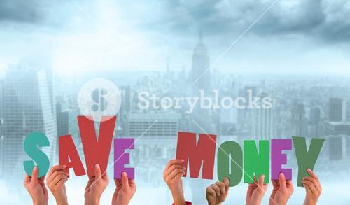 Composite image of hands holding up save money