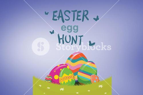 Composite image of easter  egg hunt graphic