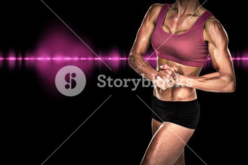 Composite image of female bodybuilder posing with hands together