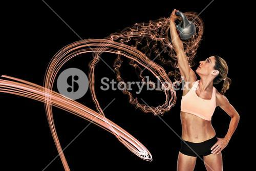 Composite image of female blonde crossfitter lifting kettlebell above head