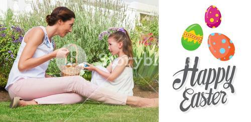 Composite image of mother and daughter collecting easter eggs