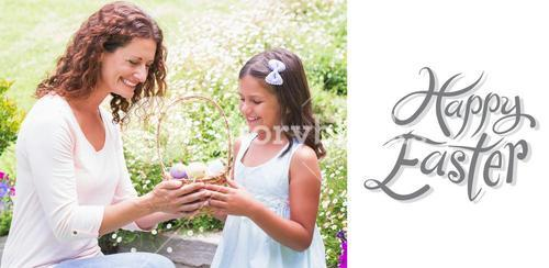 Composite image of happy mother and daughter collecting easter eggs