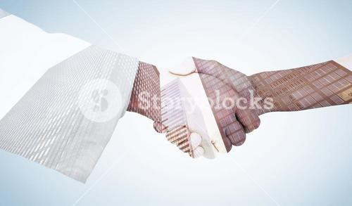 Composite image of extreme closeup of a doctor and patient shaking hands