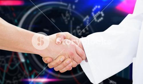 Composite image of closeup of a doctor and patient shaking hands