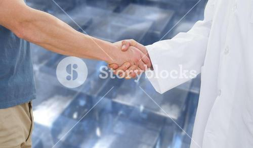 Composite image of mid section of a doctor and patient shaking hands