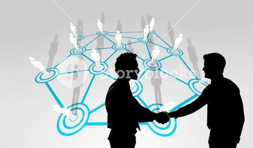 Composite image of smiling young businessmen shaking hands in office