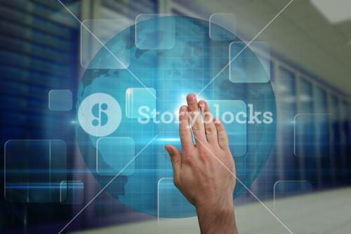 Composite image of hand touching