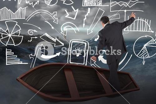 Composite image of businessman balancing in boat