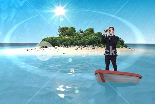 Composite image of businessman in boat with binoculars