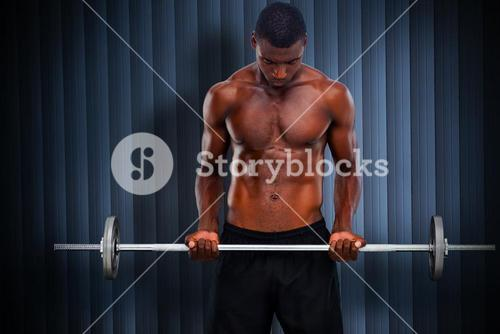 Composite image of fit man lifting barbell