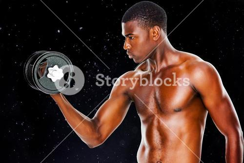 Composite image of serious fit shirtless young man lifting dumbbell