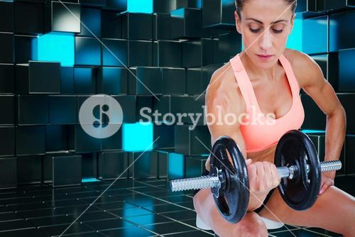 Composite image of strong woman doing bicep curl with large dumbbell
