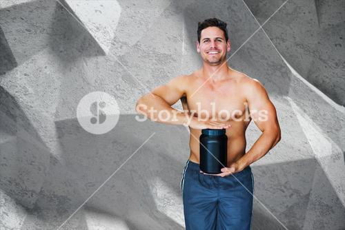 Composite image of bodybuilder with protein powder