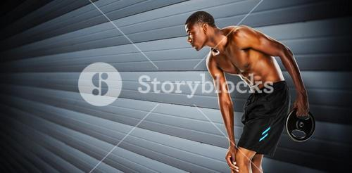 Composite image of shirtless fit young man holding barbell weight