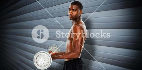 Composite image of portrait of a serious fit young man lifting barbell