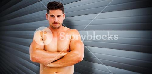 Composite image of bodybuilder posing
