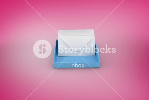 Composite image of blue inbox
